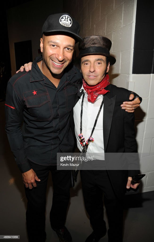 <a gi-track='captionPersonalityLinkClicked' href=/galleries/search?phrase=Tom+Morello&family=editorial&specificpeople=2133151 ng-click='$event.stopPropagation()'>Tom Morello</a> and <a gi-track='captionPersonalityLinkClicked' href=/galleries/search?phrase=Nils+Lofgren&family=editorial&specificpeople=1645832 ng-click='$event.stopPropagation()'>Nils Lofgren</a> backstage at the 29th Annual Rock And Roll Hall Of Fame Induction Ceremony at Barclays Center of Brooklyn on April 10, 2014 in New York City.