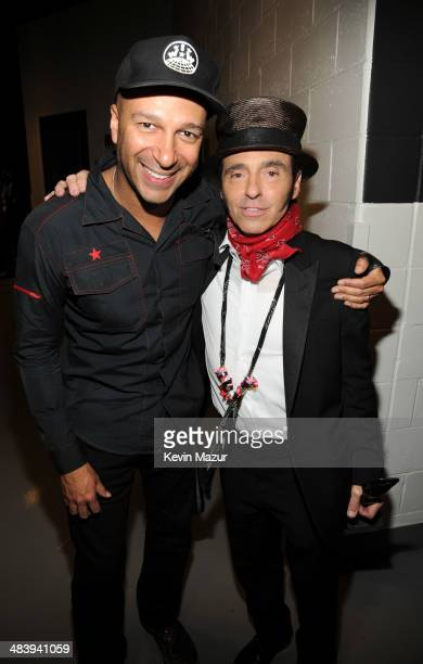 Tom Morello and Nils Lofgren backstage at the 29th Annual Rock And Roll Hall Of Fame Induction Ceremony at Barclays Center of Brooklyn on April 10...