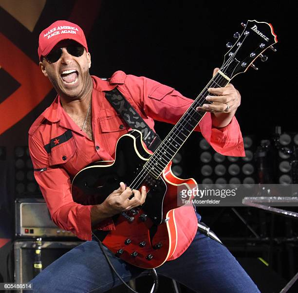 Tom Morello of Prophets of Rage performs at Shoreline Amphitheatre on September 14 2016 in Mountain View California