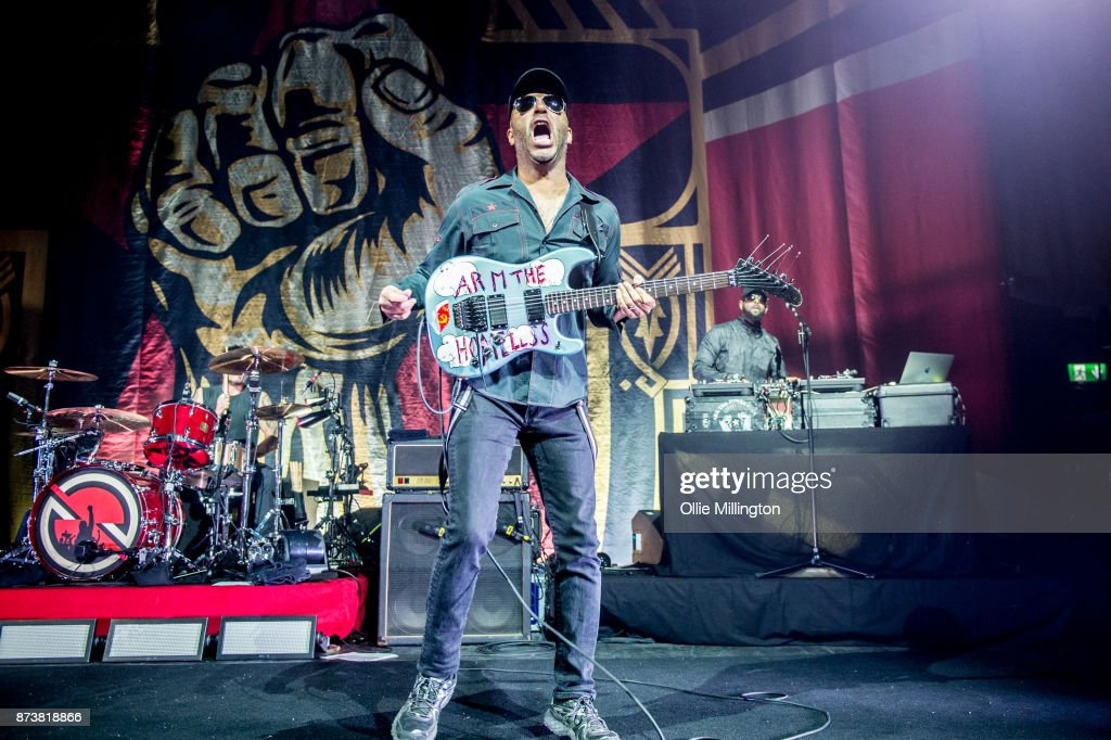 Tom Morello of Public Enemy and DJ Lord of Public Enemy perform as part of Prophets of Rage live on stage at the O2 Forum Kentish Town on November 13, 2017 in London, England.