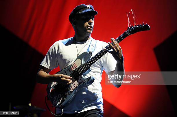 Tom Morello of Rage Against The Machine performs as part of LA Rising at the Los Angeles Memorial Coliseum on July 30 2011 in Los Angeles California
