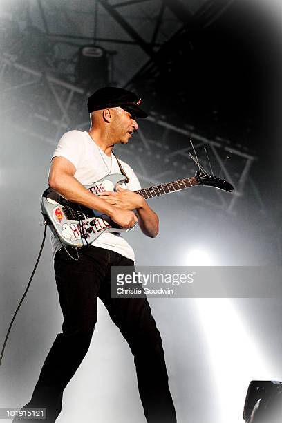 Tom Morello of Rage Against The Machine performs on stage at Finsbury Park on June 6 2010 in London England