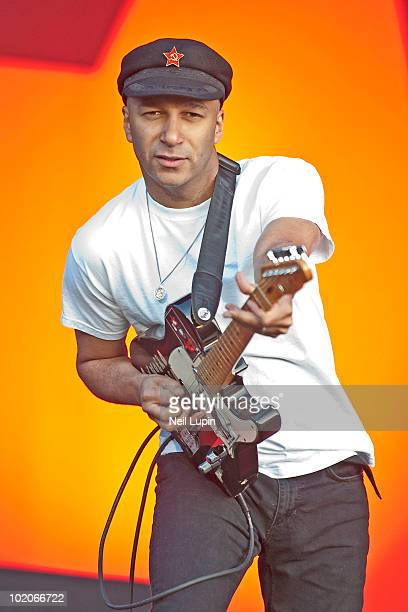 Tom Morello of Rage Against The Machine performs on stage on the second day of the Download Festival at Donington Park on June 12 2010 in Castle...