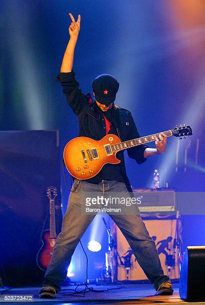 Tom Morello of the American rock supergroup Audioslave playing at Warfield Theatre San Francisco California 2003