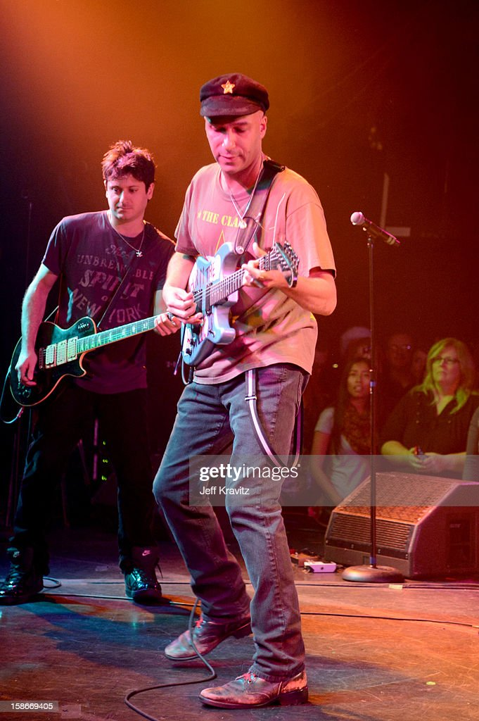 <a gi-track='captionPersonalityLinkClicked' href=/galleries/search?phrase=Tom+Morello&family=editorial&specificpeople=2133151 ng-click='$event.stopPropagation()'>Tom Morello</a> performs at Camp Freddy Holiday Residency at The Roxy Theatre on December 22, 2012 in West Hollywood, California.