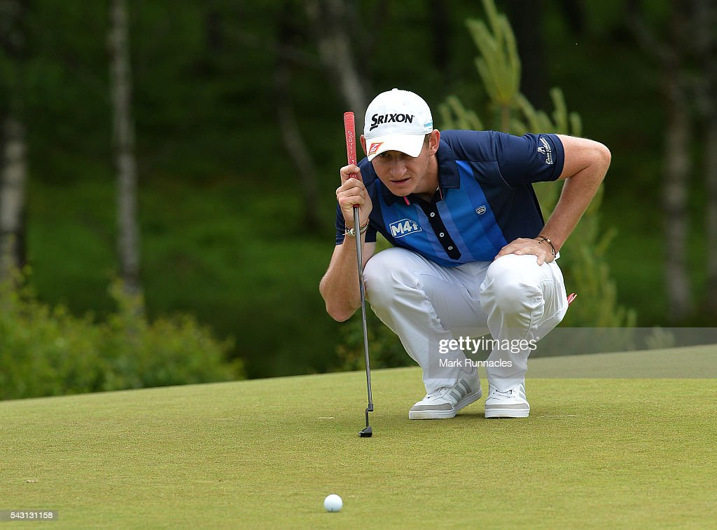 Tom Murray of England lines up a putt at the 8th during the final day of the 2016 SSE Scottish Hydro Challenge at the MacDonald Spey Valley Golf Course on June 26, 2016 in Aviemore, Scotland.