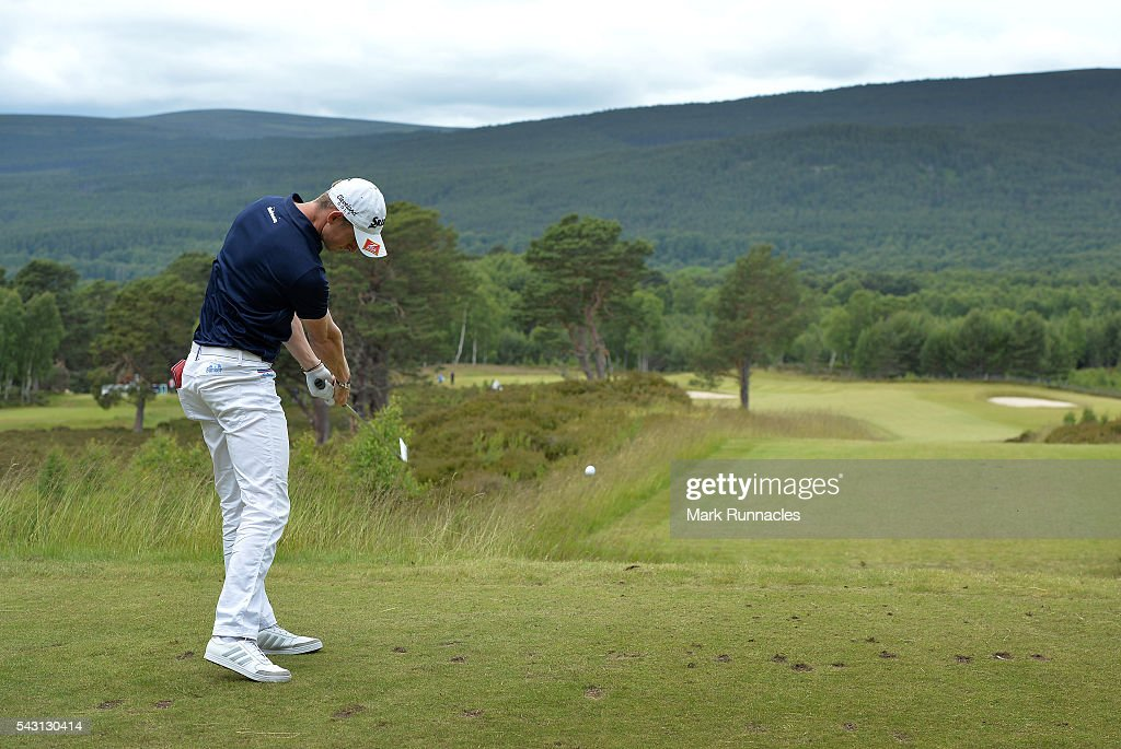 Tom Murray of England Tee shot to the 9th during the final day of the 2016 SSE Scottish Hydro Challenge at the MacDonald Spey Valley Golf Course on June 26, 2016 in Aviemore, Scotland.