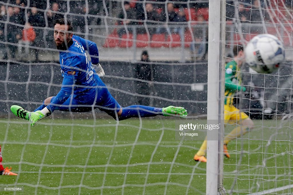 Tom Muyters of Excelsior Rotterdam 2-2 during the Dutch Eredivisie match between Excelsior Rotterdam and ADO Den Haag at Woudenstein stadium on February 14, 2016 in Rotterdam, The Netherlands