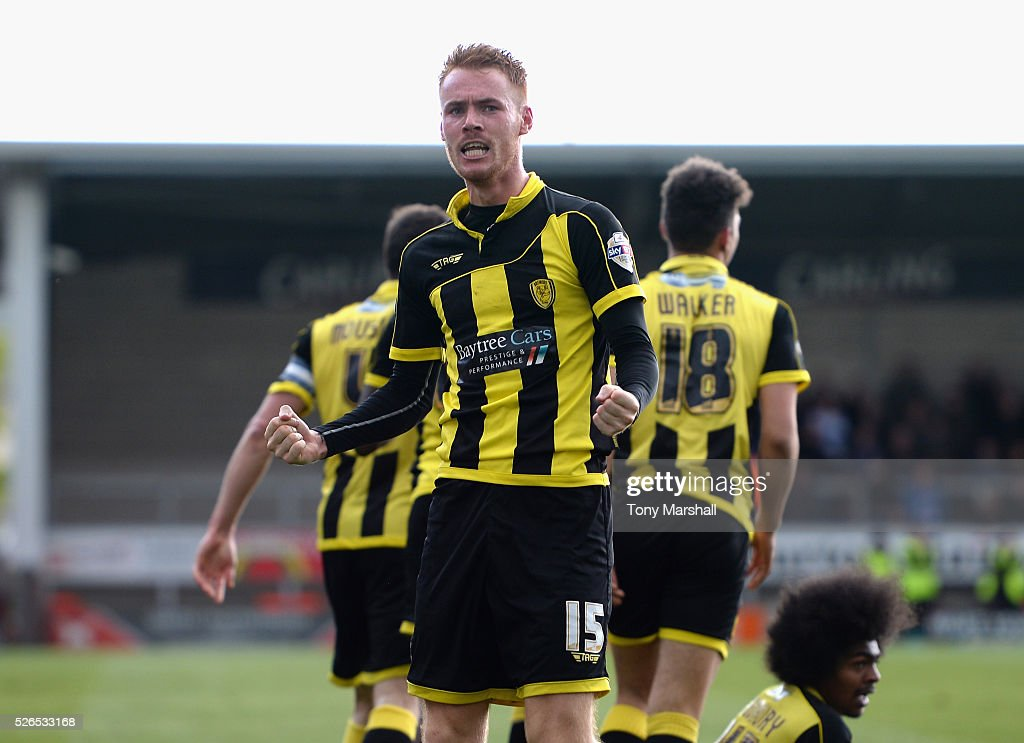 Tom Naylor of Burton Albion celebrates scoring the winning goal during the Sky Bet League One match between Burton Albion and Gillingham at Pirelli Stadium on April 30, 2016 in Burton-upon-Trent, England.