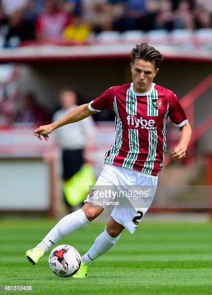 Tom Nichols of Exeter in action during the Pre season friendly match between Exeter City and AFC Bournemouth at St James Park on July 18 2015 in...
