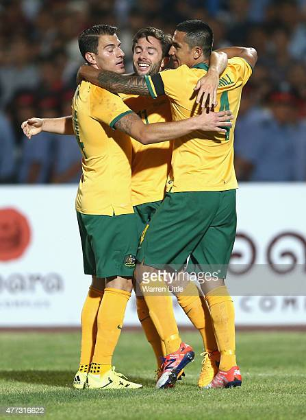 Tom Oar of Australia is congratulated by team mates after scoring the second goal during the 2018 FIFA World Cup Qualifier match between Kyrgyzstan...