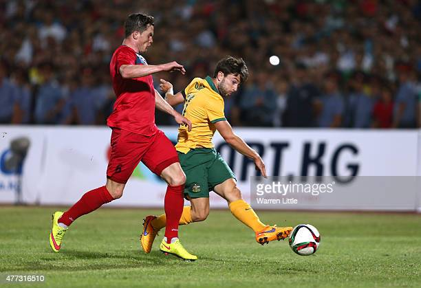 Tom Oar of Australia scores the second goal during the 2018 FIFA World Cup Qualifier match between Kyrgyzstan and the Australian Socceroos at Dolen...