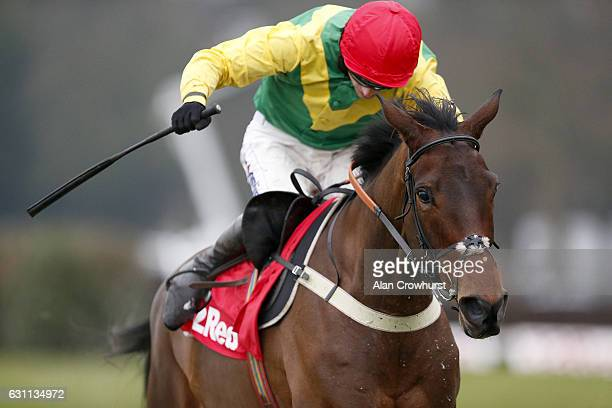 Tom O'Brien riding Finian's Oscar the last to win The 32Red Tolworth Novices' Hurdle Race at Sandown Park on January 7 2017 in Esher England