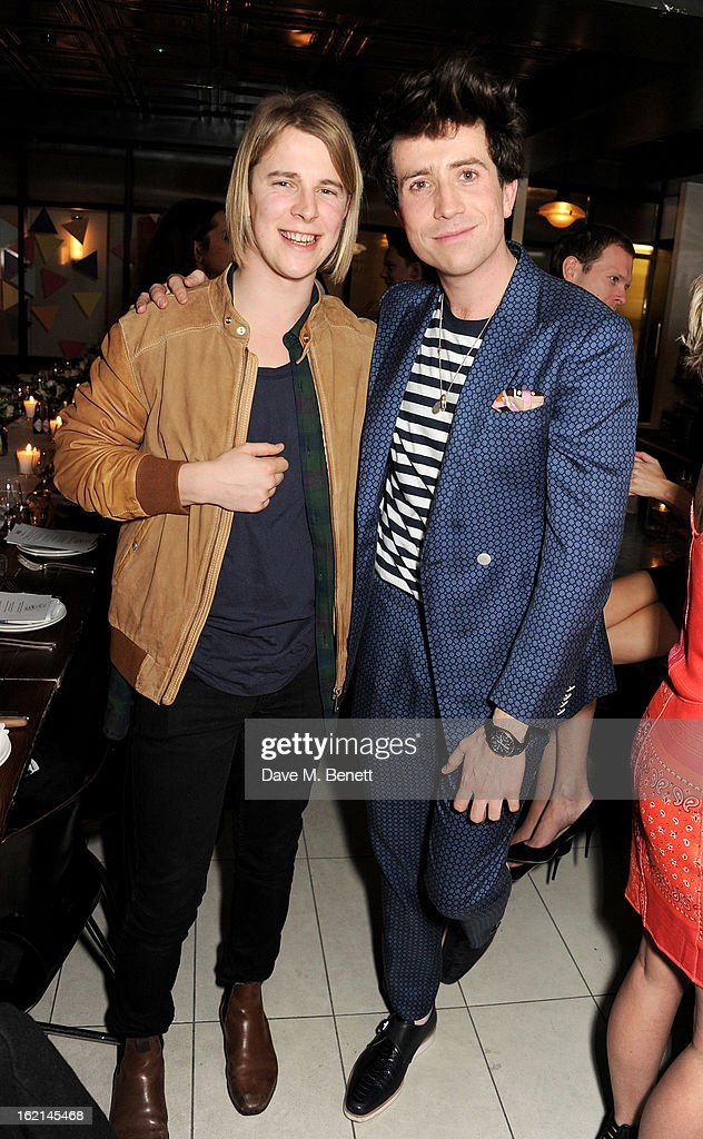 Tom Odell and Nick Grimshaw attend as Nick Grimshaw hosts his first annual award season dinner at Hix in association with Philips Sound on February...