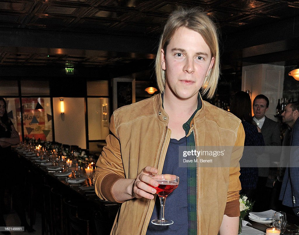 Tom Odell attends as Nick Grimshaw hosts his first annual award season dinner at Hix in association with Philips Sound on February 19 2013 in London...