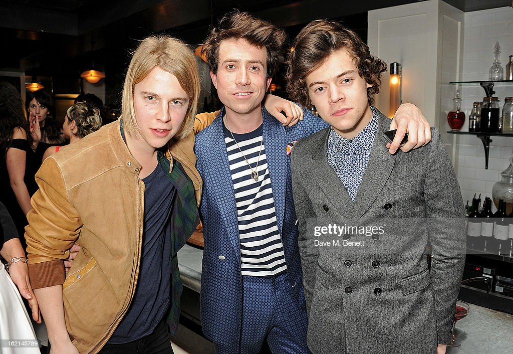 Tom Odell, Nick Grimshaw and Harry Styles attend as Nick Grimshaw hosts his first annual award season dinner at Hix, in association with Philips Sound, on February 19, 2013 in London, England.
