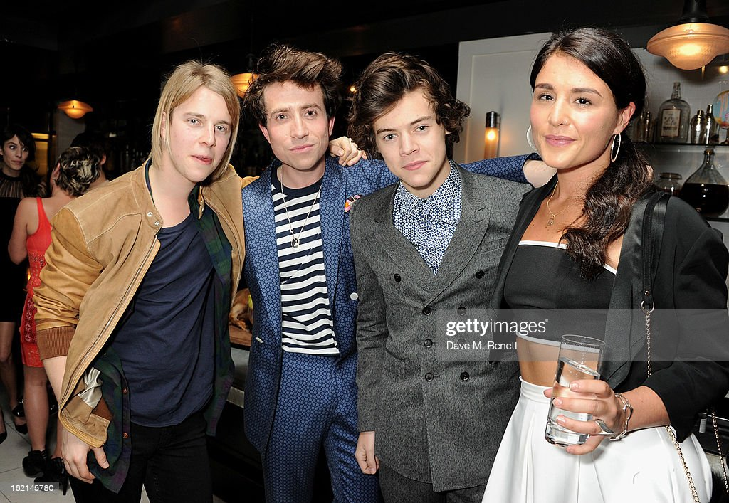 Tom Odell, Nick Grimshaw, Harry Styles and Jessie Ware attend as Nick Grimshaw hosts his first annual award season dinner at Hix, in association with Philips Sound, on February 19, 2013 in London, England.