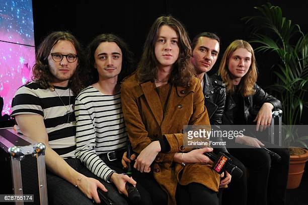 Tom Ogden Charlie Salt Josh Dewhurst Joe Donovan and Myles Kellock of Blossoms pose backstage at Key 103 Christmas Live at Manchester Arena on...