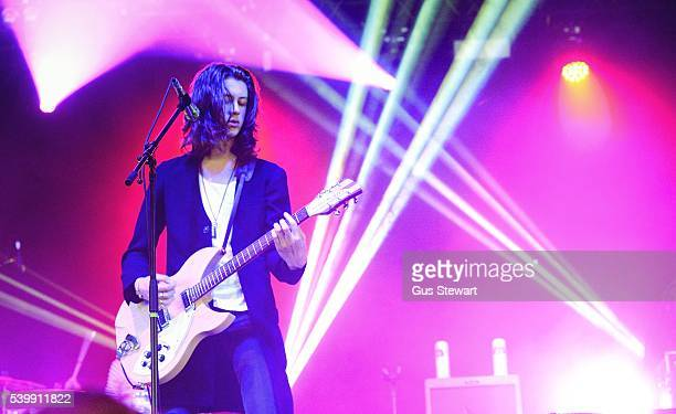 Tom Ogden of Blossoms performs at Field Day's Shacklewell Arms stage in Victoria Park on June 12 2016 in London England