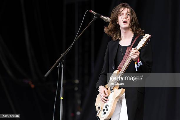 Tom Ogden of 'Blossoms' performs on the Other Stage at the Glastonbury Festival at Worthy Farm Pilton on June 24 2016 in Glastonbury England Now its...