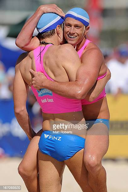 Tom O'keeffe and Dane Farell of Elouera SLSC celebrate winning the Under 19 Board Rescue during the 2013 Australian National Surf Lifesaving Titles...