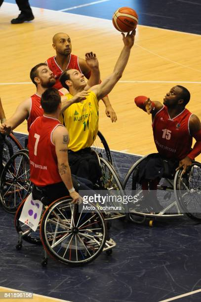 Tom O'NeillThorne of Australia shoots during the Wheelchair Basketball World Challenge Cup final between Australia and Great Britain at the Tokyo...