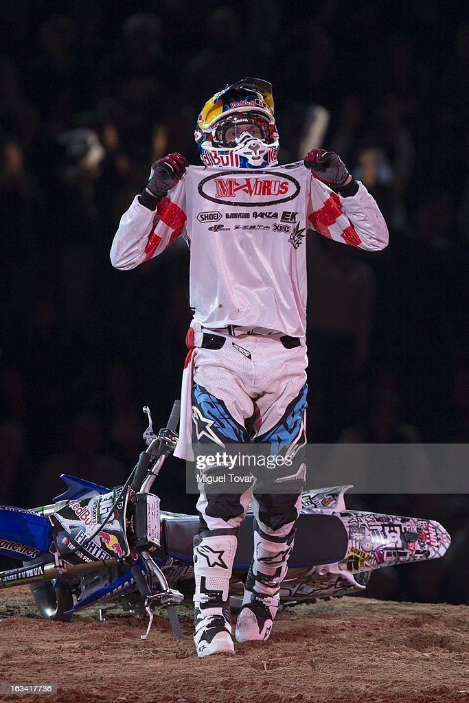 Tom Pages of France a competes in the Red Bull X-Fighters Moto Cross at plaza de toros Mexico on March 08, 2013 in Mexico City, Mexico.