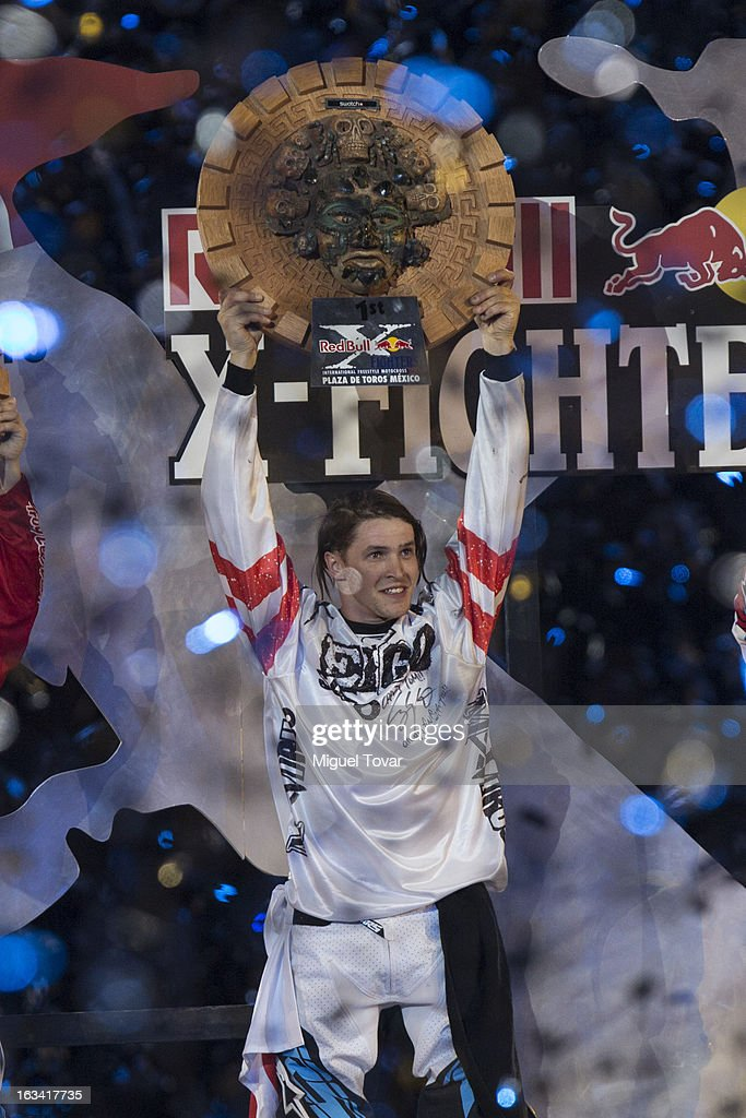Tom Pages of France celebrates after winning the Red Bull X-Fighters Moto Cross at plaza de toros Mexico on March 08, 2013 in Mexico City, Mexico.