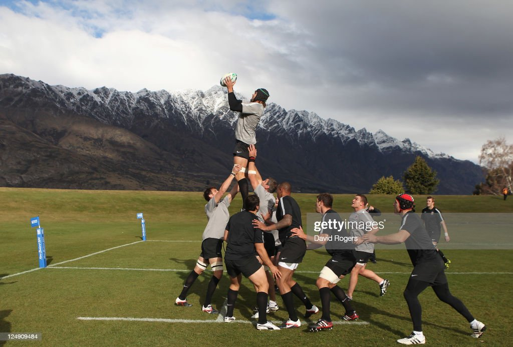 Tom Palmer catches the ball during an England IRB Rugby World Cup 2011 training session at Queenstown Events Centre on September 14 2011 in...