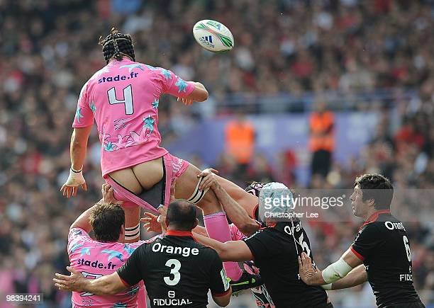 Tom Palmer of Stade Francais has pants shorts pulled during the line out during the Heineken Cup Quarter Final match between Stade Toulousain and...
