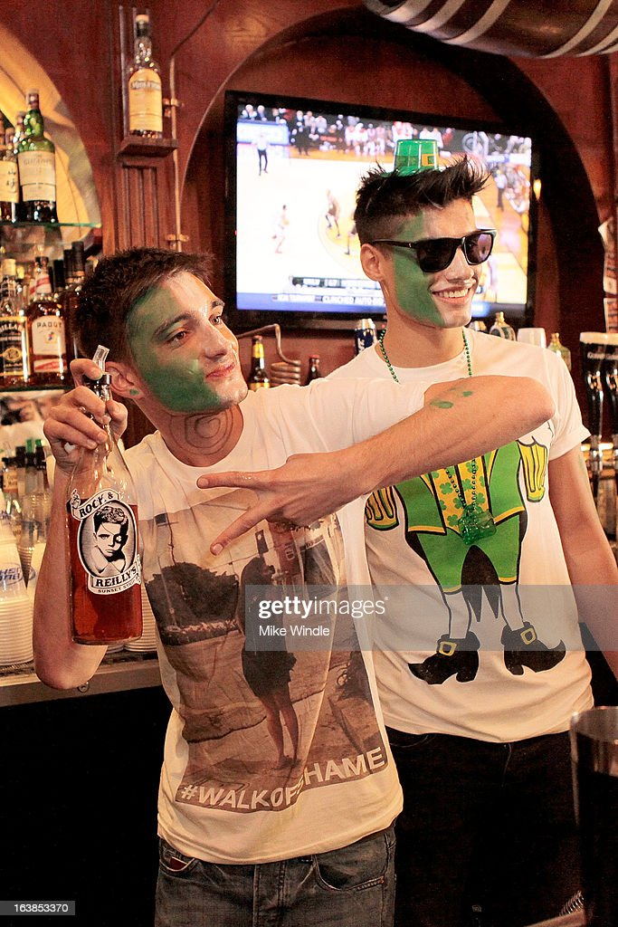 Tom Parker (L) and Siva Kaneswaran of The Wanted attend Rock & Reilly's Irish Rock Pub hosts 2nd annual St. Paddy's block party on Sunset Strip on March 16, 2013 in West Hollywood, California.