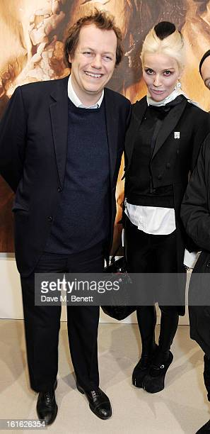 Tom Parker Bowles and Daphne Guinness attend a private view of 'Mat Collishaw This Is Not An Exit' at Blaine/Southern Gallery on February 13 2013 in...