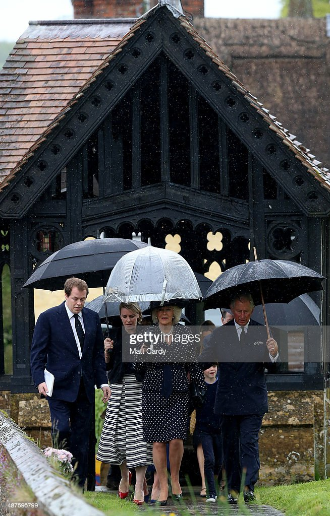 Tom Parker Bowles, Laura Lopes, Camilla, Duchess of Cornwall, and Prince Charles, Prince of Wales arrive for Mark Shand's funeral at Holy Trinity Church in Stourpaine on May 1, 2014 near Blandford Forum in Dorset, England. Conservationist and travel writer Mr Shand, who is the brother of Camilla, Duchess of Cornwall, died unexpectedly last week after falling and hitting his head in New York.