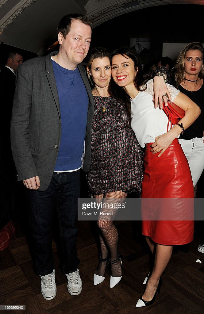 Tom Parker Bowles, wife Sara Parker Bowles and Lara Bohinc attend event planner Paul Rowe's 40th birthday party at The Groucho Club on April 3, 2013 in London, England.