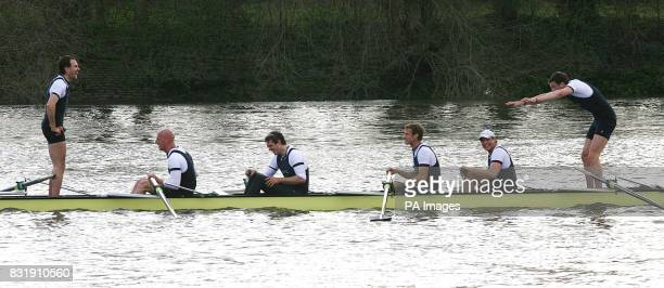 Tom Parker bows down to Bastien Ripoll after Oxford win the 152nd Boat Race between Oxford and Cambridge Universities on the River Thames in west...