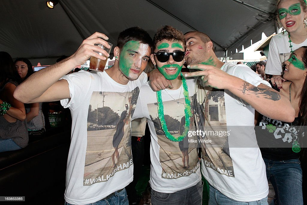 Tom Parker, Nathan Sykes and Max George of The Wanted attend Rock & Reilly's Irish Rock Pub hosts 2nd annual St. Paddy's block party on Sunset Strip on March 16, 2013 in West Hollywood, California.