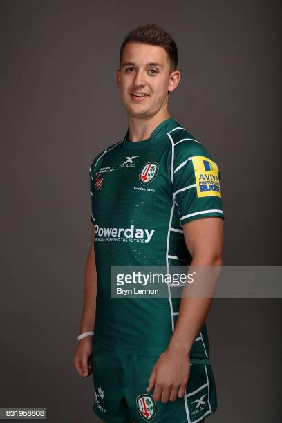 Tom Parton of London Irish poses for a portrait during the London Irish squad photo call for the 20172018 Aviva Premiership Rugby season on August 14...