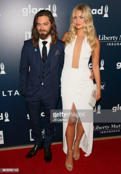 Tom Payne and Jennifer Akerman attend the 28th Annual GLAAD Media Awards on April 01 2017 in Beverly Hills California
