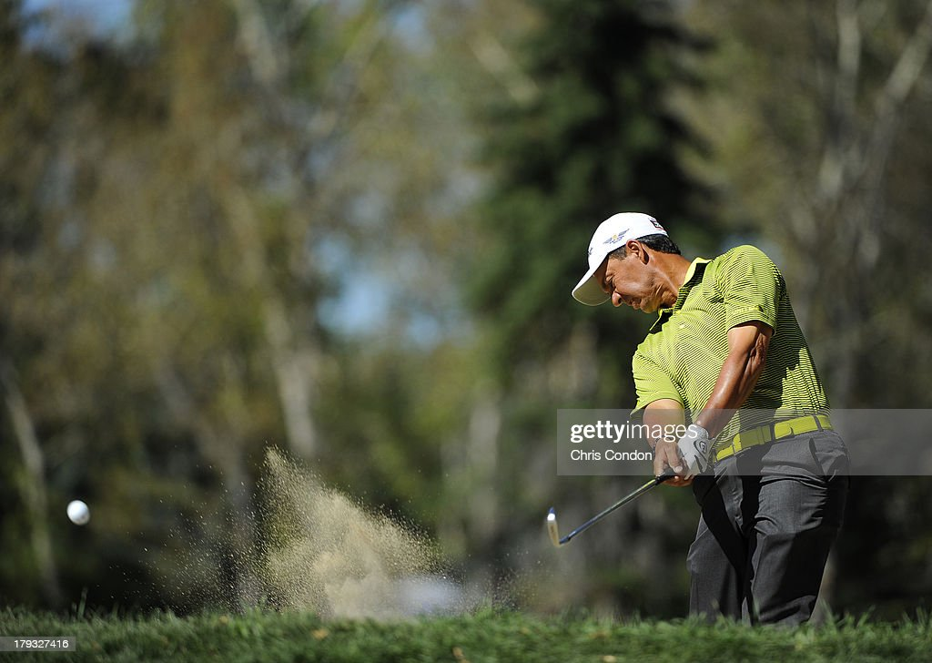 Tom Pernice Jr hits from bunker on the 7th hole during the final round of the Shaw Charity Classic at Canyon Meadows Golf & Country Club on September 1, 2013 in Calgary, Alberta, Canada.
