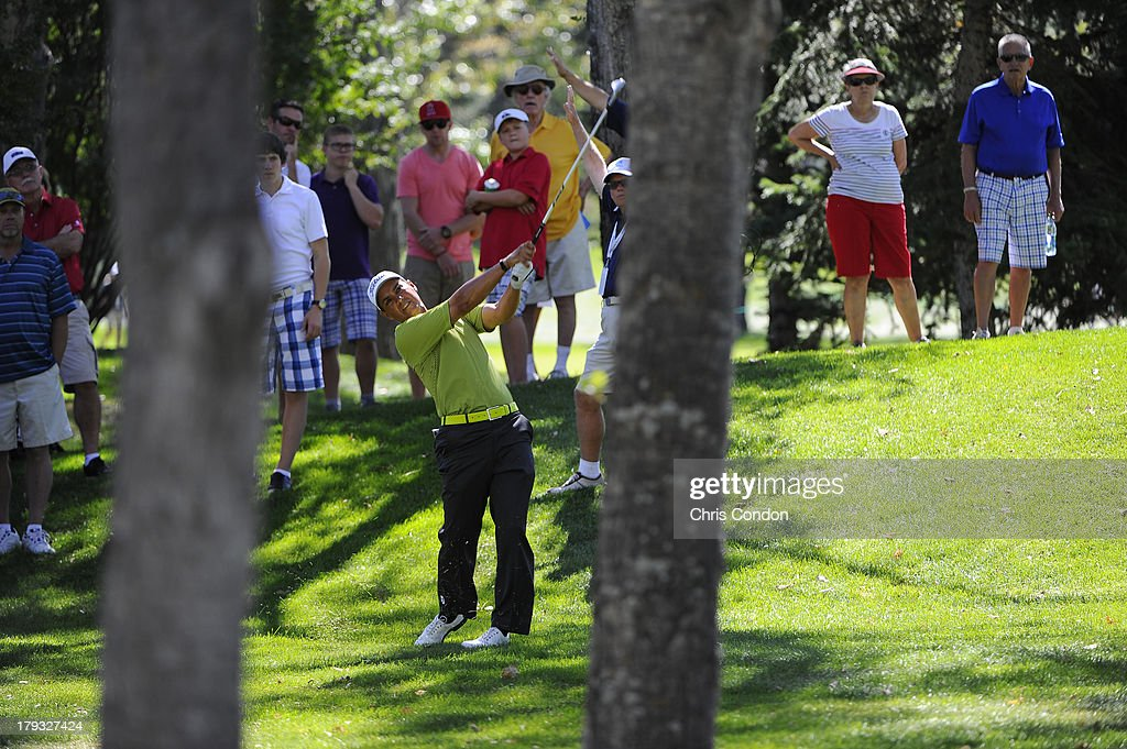 Tom Pernice Jr hits from the rough on the 6th hole during the final round of the Shaw Charity Classic at Canyon Meadows Golf & Country Club on September 1, 2013 in Calgary, Alberta, Canada.