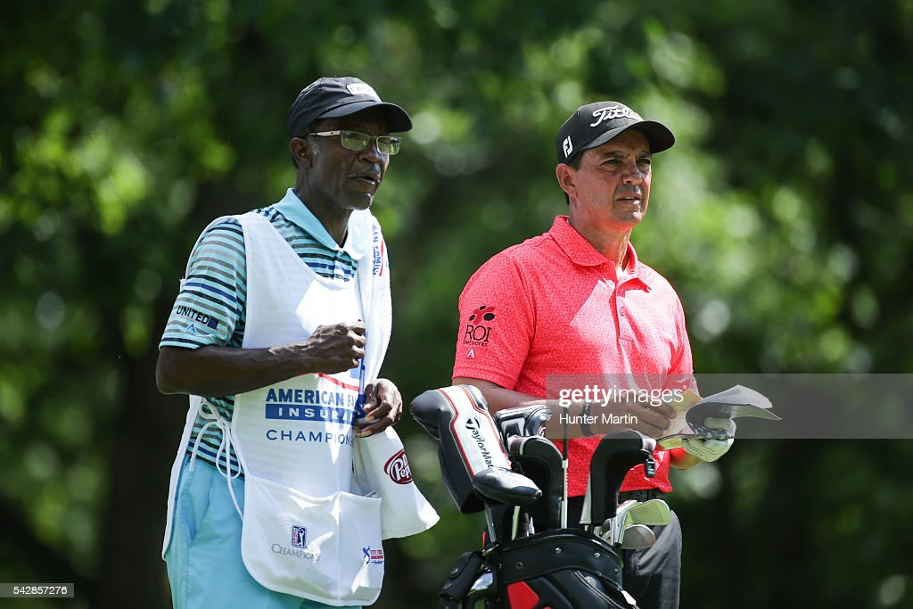 <a gi-track='captionPersonalityLinkClicked' href=/galleries/search?phrase=Tom+Pernice+Jr.&family=editorial&specificpeople=562466 ng-click='$event.stopPropagation()'>Tom Pernice Jr.</a> stands with his caddie on the 15th hole during the first round of the Champions Tour American Family Insurance Championship at University Ridge Golf Course on June 24, 2016 in Madison, Wisconsin.