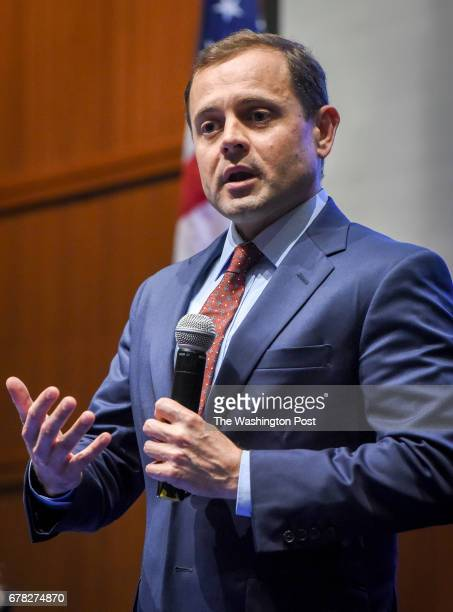 Tom Perriello addresses the crowd as progressive and labor groups from across the Commonwealth host a forum with him and fellow candidate Ralph...