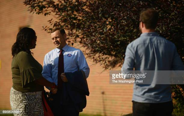 Tom Perriello one of two democratic candidates for governor in Virginia greets voters and teachers at the George Washington Middle School in...