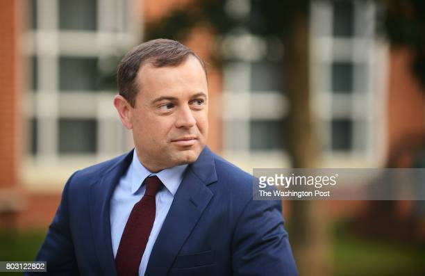 Tom Perriello one of two democratic candidates for governor in Virginia arrives at the Alexandria Fire Department Head Quarters in Alexandria VA June...