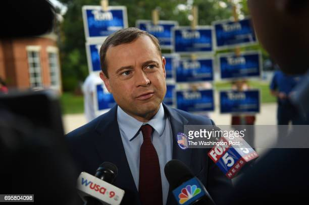 Tom Perriello one of two democratic candidates for governor in Virginia answers questions of reporters after voting at the Alexandria Fire Department...