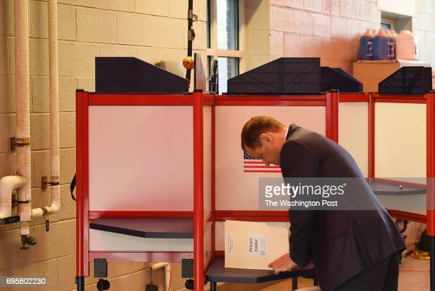 Tom Perriello one of two democratic candidates for governor in Virginia votes at the Fire Department Headquarters in Alexandria VA June 13 early...