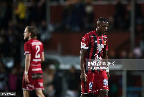 Tom Pettersson and Alhaji Gero of Ostersunds FK dejected during the Allsvenskan match between Jonkopings Sodra IF and Ostersunds FK at...