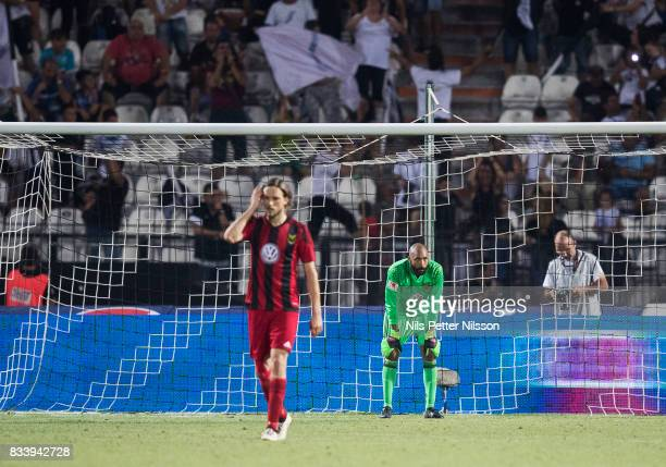 Tom Pettersson of Oestersunds FK and Aly Keita goalkeeper of Oestersunds FK dejected during the UEFA Europa League Qualifying PlayOffs round first...