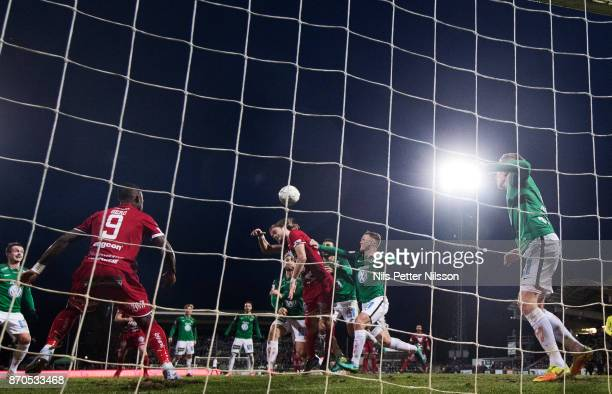 Tom Pettersson of Ostersunds FK shoots a header during the Allsvenskan match between Jonkopings Sodra IF and Ostersunds FK at Stadsparksvallen on...