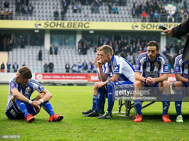 Tom Pettersson Soren Rieks and Gustav Svensson reacts after the match between IFK Goteborg and Kalmar FF at Gamla Ullevi on October 31 2015 in...